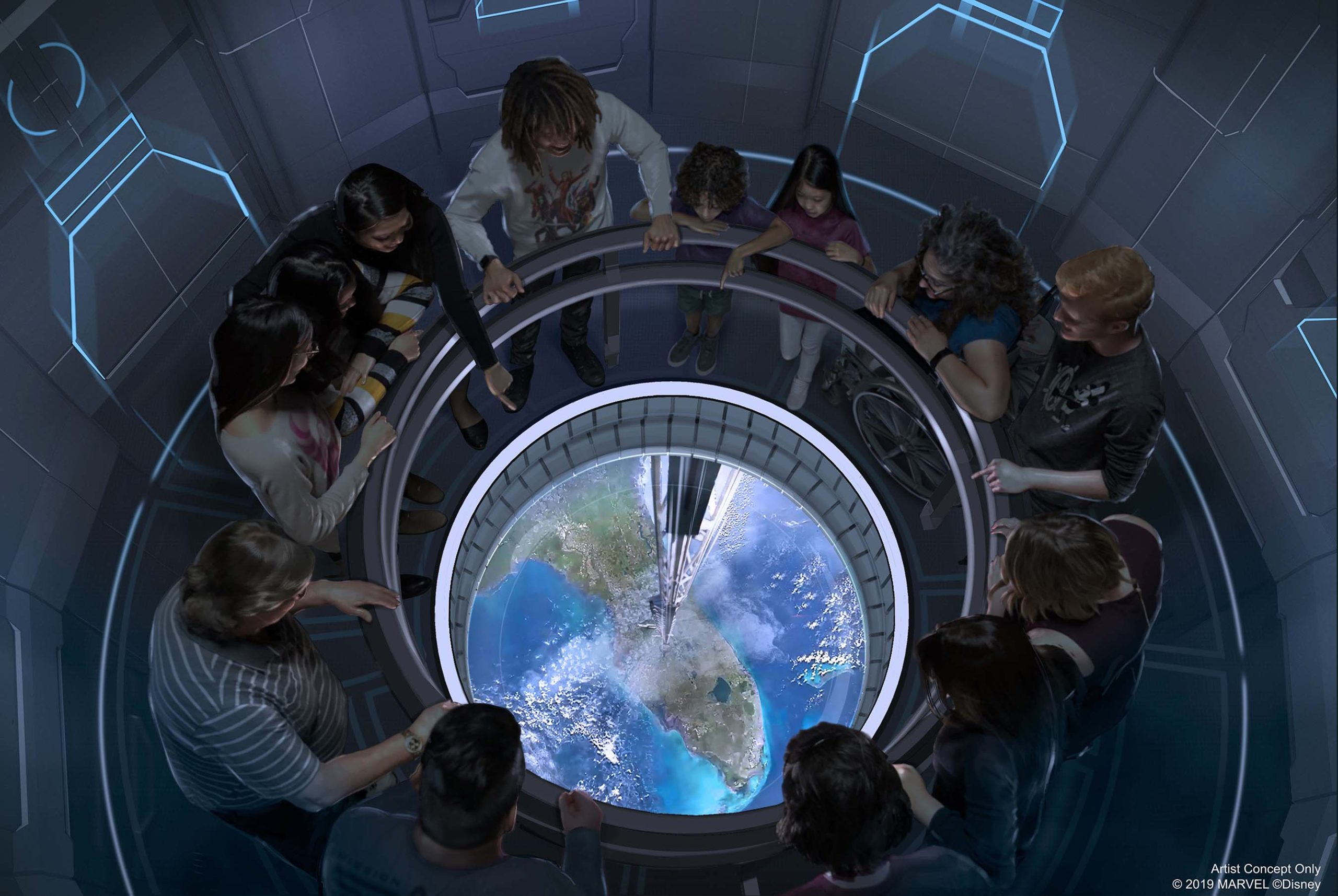 Artist rendition of guests traveling to space in a circular space elevator high above planet Earth, over the state of Florida, for the new restaurant opening of Space 220 at Epcot®.