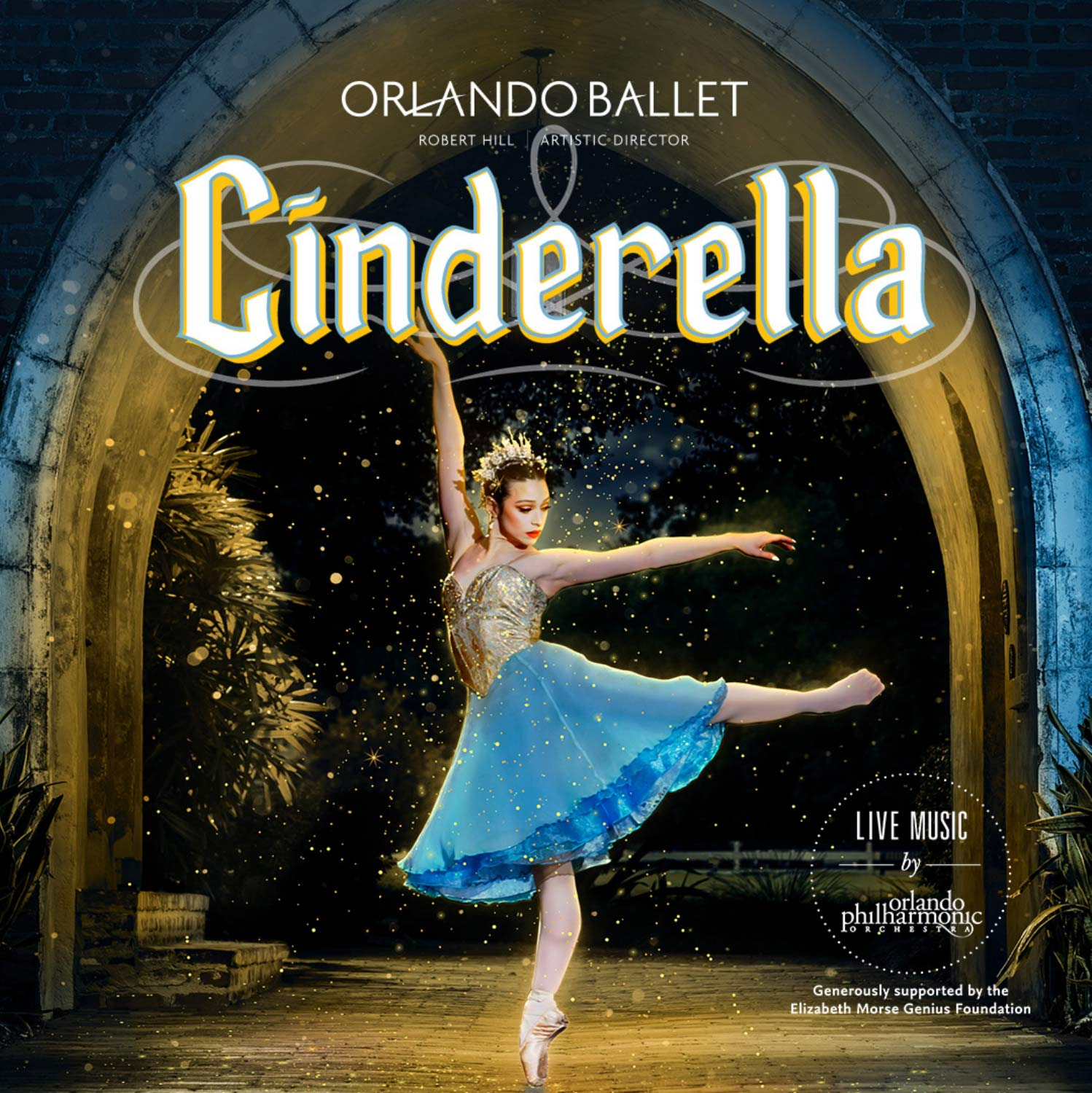 "Promotional image of Orlando Ballet's ""Cinderella"" performance with female ballet dancer wearing gold and blue Cinderella dress posing for the photo."