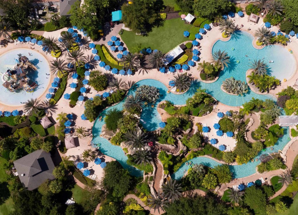 Daytime aerial photo of Reunion Resort Water Park, Kissimmee, Florida.